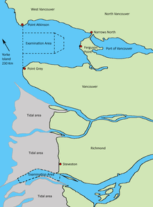 Map of the coast of Vancouver British Columbia showing the locations of World War II coastal defence forts