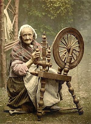 English: Photochrom print of an elderly Irish ...