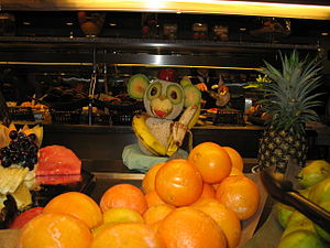 Fruit art in the shape of a monkey