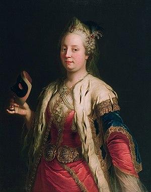 Deutsch: Maria Theresia mit Maske, Ölgemälde v...