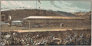 Engraving of the finish line at the 1881 Melbo...