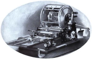 1918 illustration of a mimeograph machine. Out...
