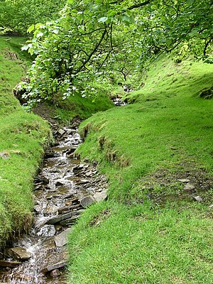 English: Stream leading To Calf Hey reservoir