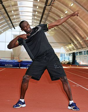 Sprinting legend Usain Bolt pictured in Brunel...