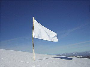 White Flag on top of a snowy mountain and in f...