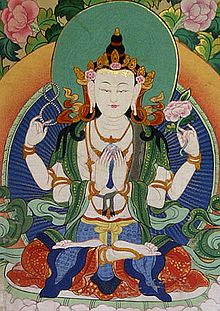 Four-armed Tibetan Chenrezig form of Avalokiteśvara