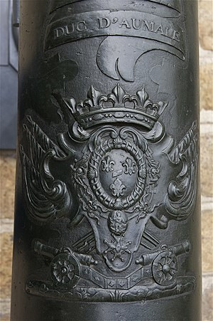 on a bronze french cannon, the relief of coat ...