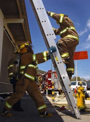 A fireman from the Guantanamo Bay Fire Departm...
