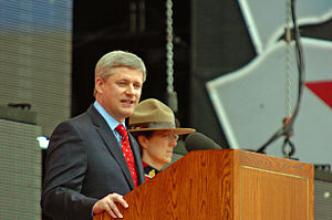 English: Prime Minister Stephen Harper speakin...