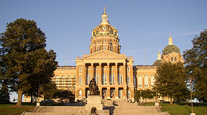 The State Capitol of Iowa, featuring its golde...