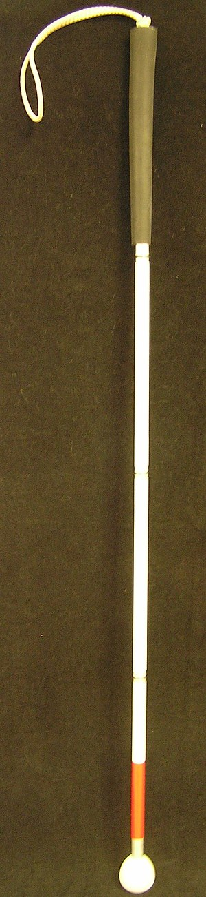 An unfolded long cane. The long cane is the pr...