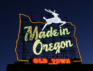 "The ""Made in Oregon"" sign located at..."