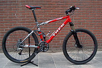 This mountain bicycle features oversized tires...