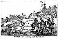 Gambar yang menunjukan kegiatan barter di benua Amerika pada abad ke-19
