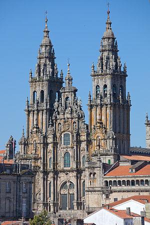 """Facade of """"O Obradoiro"""", cathedral o..."""