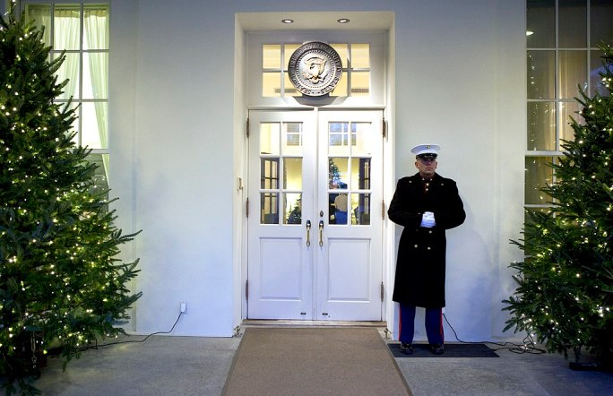 A Marine Sentry stands guard outside the West Wing entrance of the White House, Dec. 14, 2010