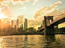 Brooklyn Bridge, New York City, New York, at sunset - 20170625
