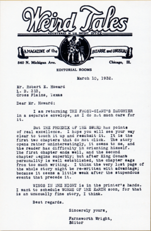 English: Letter from Farnsworth Wright, editor...