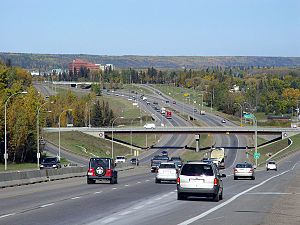 Looking north on Highway 63 in Fort McMurray, ...
