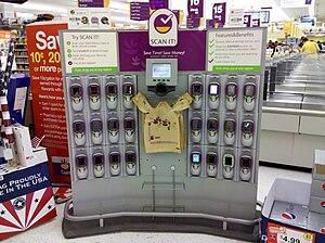 """Scan It"" self-checkout kiosk at Gia..."