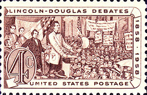 English: Lincoln-Douglas Debates, 1958 America...