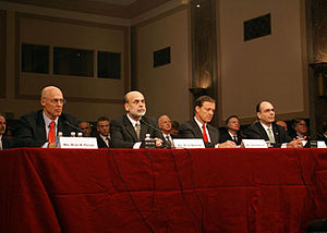English: Treasury Secretary Henry Paulson, Fed...