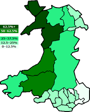 Percentages of Welsh speakers in the principal...