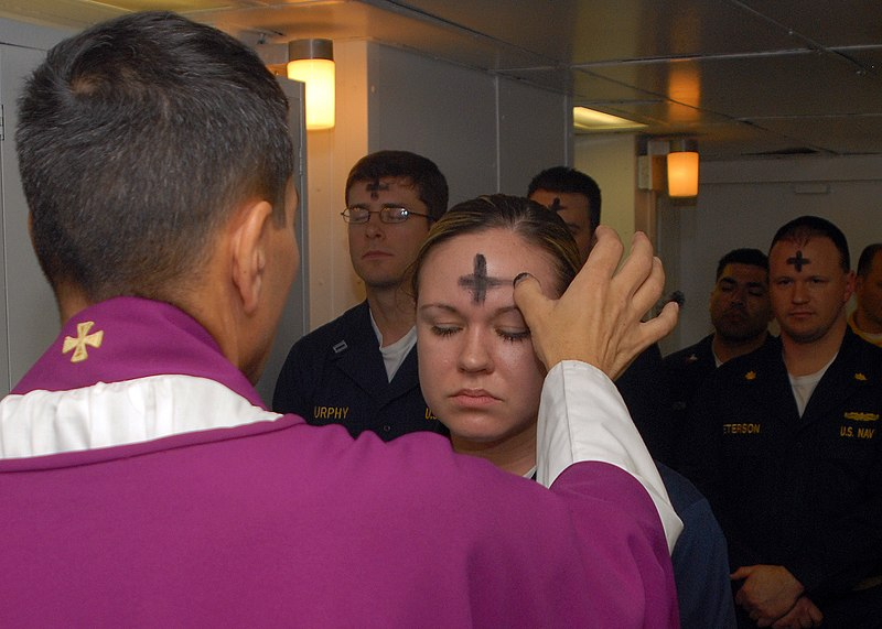 File:US Navy 080206-N-7869M-057 Electronics Technician 3rd Class Leila Tardieu receives the sacramental ashes during an Ash Wednesday celebration.jpg