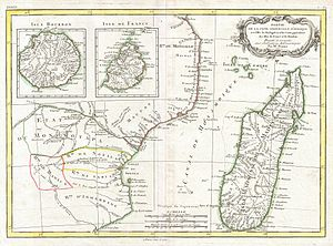1770 Bonne Map of East Africa, Madagascar, Isl...