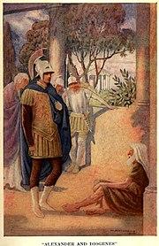 Alejandro Magno visita a Diógenes en Corinto por W. Matthews (1914)