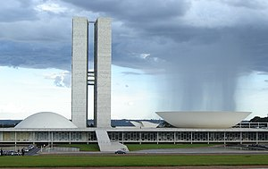 Brazilian Congress being washed by rain. Archi...