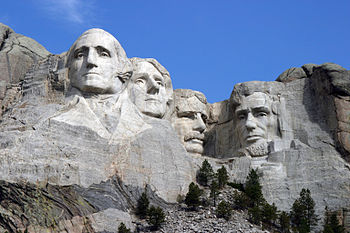 The Mount Rushmore Monument as seen from the v...