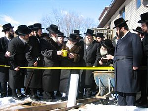 Two Hassidic Grand Rebbes with their entourage