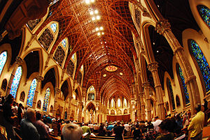 interior of the newly restored Holy Name Cathedral
