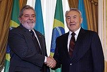 Nazarbayev with President of Brazil Luiz Inacio Lula da Silva in 2009
