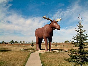 Mac the Moose stands on the edge of Moose Jaw.