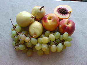 Peach, grape and pears