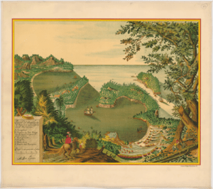 English: Litography of Acapulco port in 1628, ...