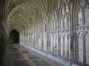 South cloister of Gloucester Cathedral, lookin...