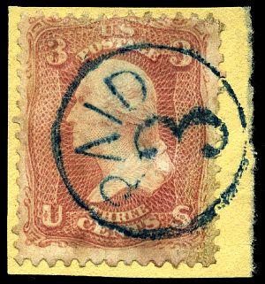 Stamp US 1861 3c PAID 3