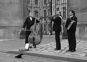 Street musicians in Prague : double bass, acco...