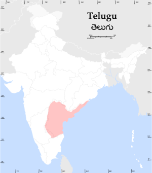 A map of the distribution of native Telugu spe...