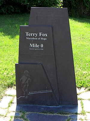 Terry Fox memorial at mile 0 of his cross-Cana...