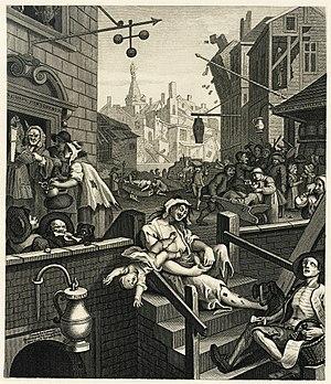 William Hogarth's engraving Gin Lane, as repro...
