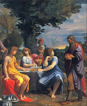 Three angels visiting Abraham