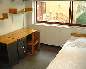 A dorm room at the Harvard Law School.