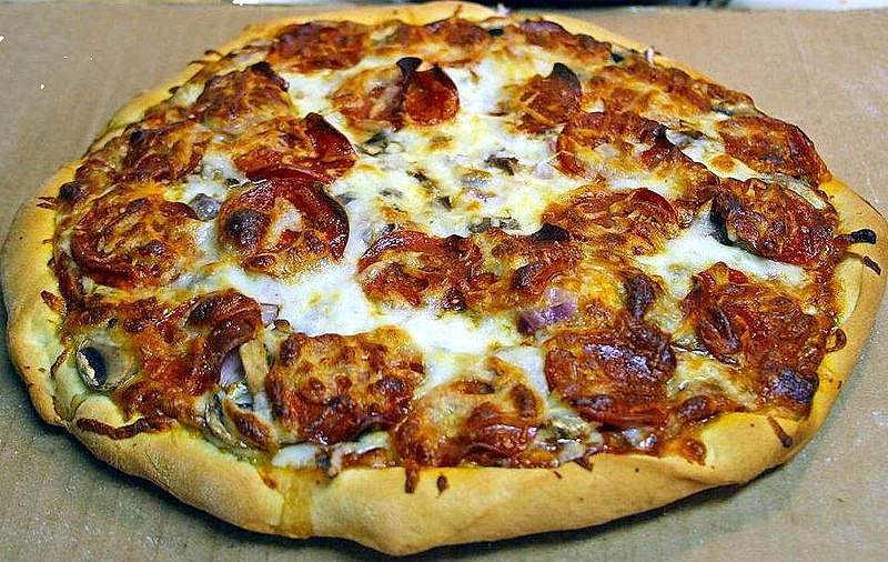 Pepperoni Pizza - picture by Jon Sullivan, in the public domain, found on http://pdphoto.org