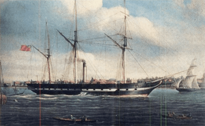 English: An image of a painting of the SS Roya...