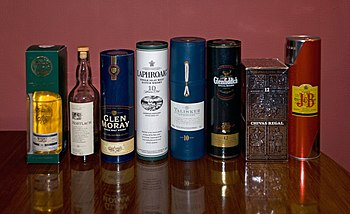 Various Scotch Whiskies. From left: Whisky Gal...