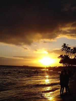 Sunset on Waikiki Beach, Waikiki, Hawaii